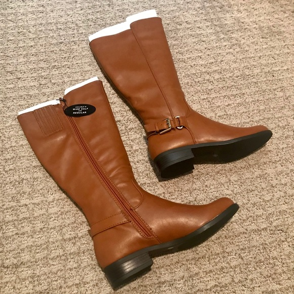 Womens Wide Calf Leather Riding Boot
